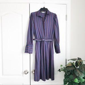 Vintage Melissa Lane Striped Belted Dress